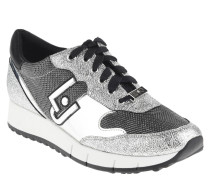 "Sneaker ""Linda"", Glitzer-Effekt, glänzend, Plateau, Silber"