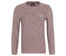 Pullover, Baumwolle, Melange-Optik, Brusttasche, Rot