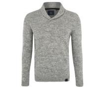 Pullover, Klappkragen, meliert, Emblem, Grau