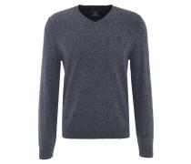 Pullover, meliert, V-Ausschnitt, Emblem, Rippbündchen, Blau