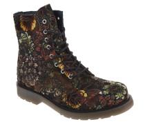 Boots, Blumenmuster, Samt, Reißverschluss, Braun