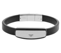 Armband, Leder, Edelstahl mit Carbon, EGS2186040