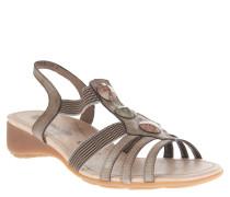 Sandaletten, elastische Riemen, Keilabsatz, offen, Braun