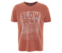 T-Shirt, Flammgarn-Optik, Front-Print, V-Ausschnitt, Rollsaum, Orange