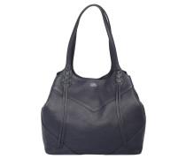 Handtasche, Leder, Zierfransen, Blau