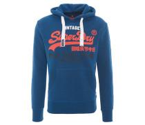 Sweatshirt, meliert, Print, Kapuze, Blau