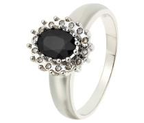 Diamant-Ring Weißgold 375 Saphir, zus. 0,08 ct
