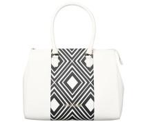 Handtasche, Rauten-Muster, Marken-Emblem, Weiß