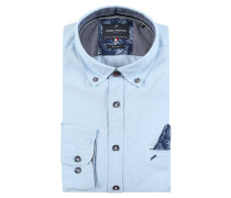 Buisnesshemd, Modern-Fit, Button-Down-Kragen, Blau