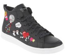 Sneaker, Comic-Stickereien, Leder, Schwarz