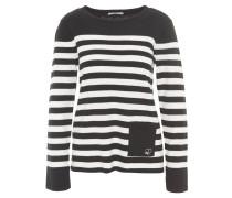 Pullover, gestreift, aufgesetzte Tasche, Schwarz