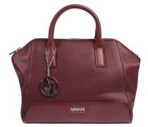Handtasche, genarbtes Lederimitat, Anhänger, Rot