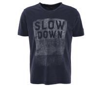T-Shirt, Flammgarn-Optik, Front-Print, V-Ausschnitt, Rollsaum, Blau