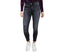 Jeans, Mid Waist, knöchellang, Destroyed-Details
