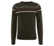"Pullover ""Kassy"", Zickzack-Muster, Woll-Anteil, Oliv"