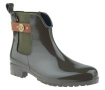 Chelsea Boots, Logo-Emblem, Lederriemen, Oliv