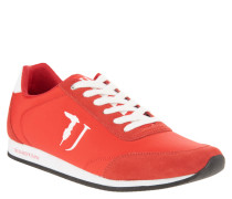 Sneaker, Leder-Akzente, Logo-Stickerei, Rot