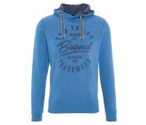 Sweatshirt, Print, Kapuze, Kordel, Blau