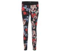 "Jeggings ""Zeggi"", Blumenmuster, Stretch, Schwarz"
