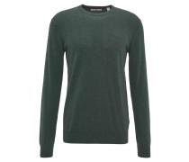 Pullover, Rippbündchen, Baumwolle, Rundhals, Grün