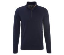 Pullover, Stehkragen, Rippstrick-Bündchen, Blau