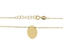 Kette, Gold 375, mit ovalem Anhänger