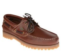 Bootsschuhe, Leder, Profilsohle, Kontrastnähte, Braun