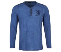 Langarmshirt, Vintage-Waschung, Henley-Kragen, Blau