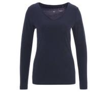 Langarmshirt, V-Ausschnitt, Bio-Baumwolle, uni