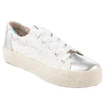Sneaker, Metallic, Spitze, Bast-Plateausohle