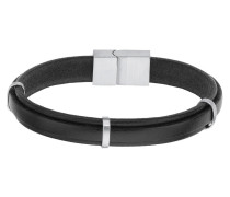 Armband Leder schwarz mit Edelstahl-Elementen