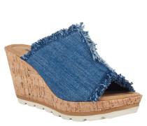 "Pantoletten ""York"", Jeans-Look, Kork-Absatz, Blau"