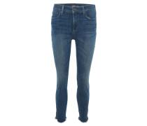 Jeans, Skinny Fit, knöchellang, Fransen, Blau