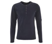 Langarmshirt, Henley-Stil, geschlitzt, reine Baumwolle, Blau