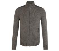 Strickjacke, Baumwolle, Schulter-Besatz, Grau