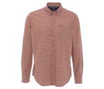 Freizeithemd, gemustert, Button-Down-Kragen, Logo-Stickerei, Braun