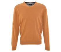 Pullover, uni, V-Ausschnitt, Woll-Anteil, Gelb