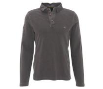 Poloshirt, Langarm, Piqué, Denim-Kragen