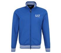 Jacke, Streifen-Design, Logo-Print, Blau