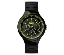 Uhr mit schwarz-grünem Silikonarmband Borneo