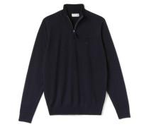 Herren-Pullover mit Reißverschlusskragen aus Wolljersey
