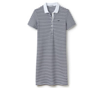 Polo-Kleid aus dehnbarem zweifarbig gestreiftem Mini-Piqué