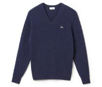 Herren-V-Pullover aus einfarbiger Wolle mit Zopfmuster