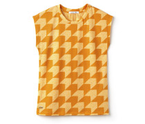 Rundhals-T-Shirt aus gestreiftem Jersey und Vichy-Karomuster