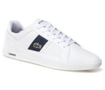 Flache Leder-Sneaker Europa mit Kontrasteinsätzen