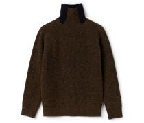 Damen-Stehkragen-Pullover aus moulinierter gerippter Wolle