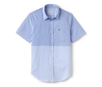 Slim Fit Herren-Hemd aus gestreifter Popeline mit Vichy-Muster