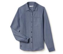 SlimFit Damen-Bluse in Denim-Optik mit Brusttasche