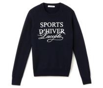 """Damen-Pullover mit hohem Kragen und """"Sports d'Hiver""""-Schriftzug"""