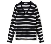 Damen-Pullover mit V-Ausschnitt aus gestreiftem Wolljersey